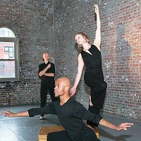 Attack Theatre dancers (from left) Dane Toney, Anthony Williams and Kaitlin Dann rehearse for <i>The Next Stop</i>.