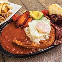 <i>Bandeja Paisa</i>: Steak, Colombian chorizo, fried pork belly, plantains, avocado, egg, red beans, rice and grilled <i>arepa</i>