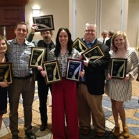 City Paper's Golden Quill Winners, from left, Margaret Welsh, Ryan Deto, Bill O'Driscoll, Rebecca Addison, Charlie Deitch, Celine Roberts and Ashley Murray.  Not pictured are Kim Lyons and DJ Coffman