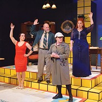 Left to right: Katheryn Hess, Tom Strauman, Jill Jeffrey and Tonilyn Longo Jackson in <i>Clue: The Musical</i>, at the Summer Company