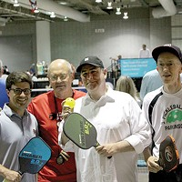 Pittsburgh City Councilor Corey O'Conner (left) and Mayor Bill Peduto (center) played some pickleball.