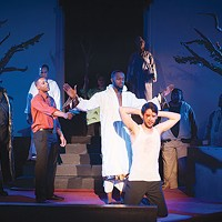 <i>A Gathering of Sons</i>, at Pittsburgh Festival Opera: Miles Wilson-Toliver (with gun); Terriq White (arms spread) and Robert Gerold (kneeling)
