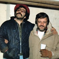 "Tony Buba stands on a box to top the 6'5"" George Romero in a photo from the set of ""Dawn of the Dead"" circa 1977"