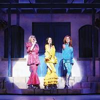 Left to right: Lori Hammel, Sally Ann Triplett and Michelle Dawson in Pittsburgh CLO's <i>Mamma Mia!</i>
