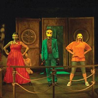 Front row, left to right: Brittany Tague, Matt Henderson and Sara Ashley Fisher in <i>Mr. Burns, a post-electric play</i>, at 12 Peers Theatre