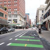 Bike lane on Penn Avenue in Downtown Pittsburgh