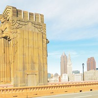 The Guardians of Traffic stand on the Lorain-Carnegie bridge in Cleveland.