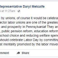 Angry constituents work over Pittsburgh-area Pa. Rep Daryl Metcalfe on social media after anti-Labor Day diatribe