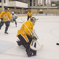 Backup goalie Antti Niemi at the net during practice at UPMC Lemieux Sports Comple