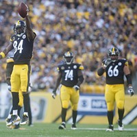 Antonio Brown leaps in celebration after catching a first-down pass during the first quarter.