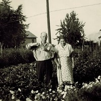 Peter Argentine's grandparents in their garden circa 1940