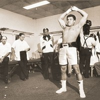 Muhammad Ali in the locker room later in his career