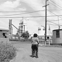 "LaToya Ruby Frazier's ""Sandra Gould Ford looking Back at the view from her former Talbot Towers Apartment in Braddock, PA"""