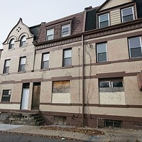 This series of vacant rowhouses on Gist Street has been owned by Bob Eckenrode since 2005. The façades were recently given a new coat of paint.