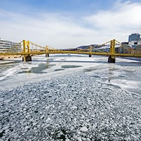 The frozen Allegheny River