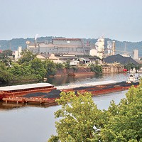 A coal barge on the Monongahela River in Braddock