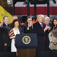 Pennsylvania U.S. Senate candidate Lou Barletta (left) with other state and national Republicans at a Donald Trump event in North Fayette in January
