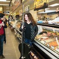 Peggy Yoo and Elisa Kohanski, of IonSound Project, in East Liberty's Giant Eagle on Sun., March 18