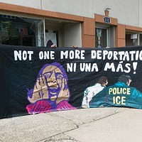 Members of immigrant-rights group Casa San Jose have used this sign to protest increased ICE enforcement in Pittsburgh over the years.