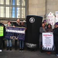 Equitable-development advocates at a press conference in Downtown PIttsburgh