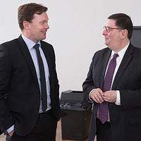 Danish Ambassador Lars Gert Lose (left) meeting with Bill Peduto in March