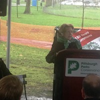 Patricia Rooney (right) speaking at the Allegheny Commons fountain groundbreaking
