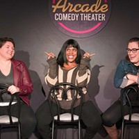 Averell, Christina McNeese and Suzanne Lawrence ham it up at Arcade Comedy Theater.