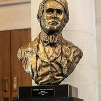 The bust of Stephen Foster inside the Stephen Foster Memorial theater on the University of Pittsburgh campus