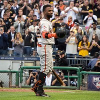 Former Pittsburgh Pirate outfielder Andrew McCutchen is cheered by fans on Fri., May 11 at PNC Park.