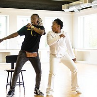 "Blak Rapp Madusa and Candace Michelle Perdue, ""the ghost of hip hop,"" rehearse at Alloy Studios."