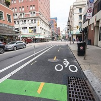 Protected bike lane on Penn Avenue, Downtown