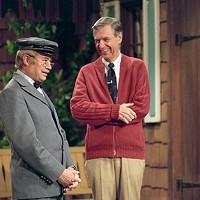 David Newell (left) and Fred Rogers from the show Mister Rogers Neighborhood in the film, <i>Won't You Be My Neighbor?</i>