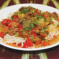 Lagman, a traditional Uzbek dish available at Kavsar