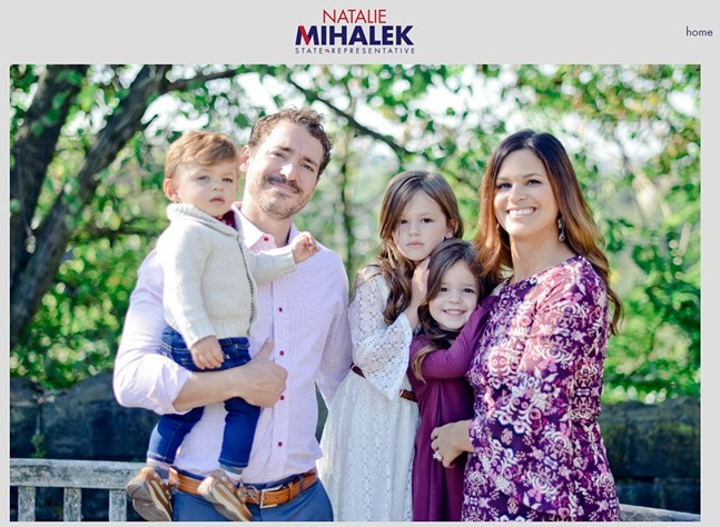 Natalie Mihalek (right) with her family, as seen on her campaign website. Same photo appears in Florida congressional ad. - SCREENSHOT FROM CAMPAIGN WEBSITE