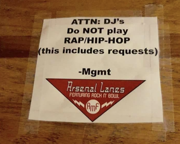 Photo of poster allegedly taken at Arsenal Bowl in Lawrenceville, widely circulated on social media - SCREENSHOT TAKEN FROM FACEBOOK