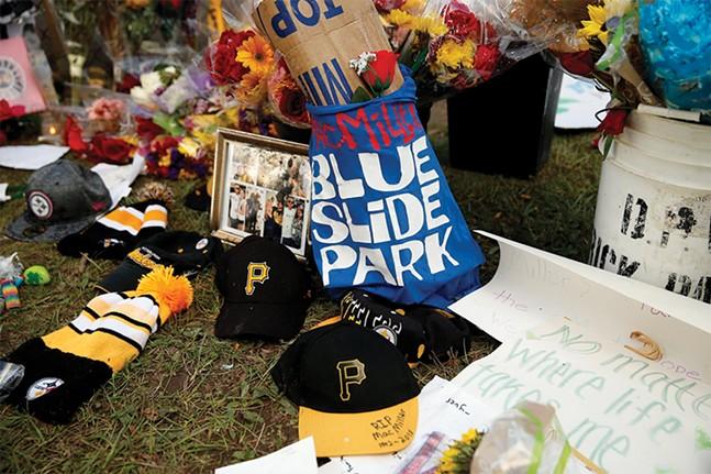 Mementos left at Mac Miller's memorial at Blue Slide Park - CP PHOTO: JARED WICKERHAM