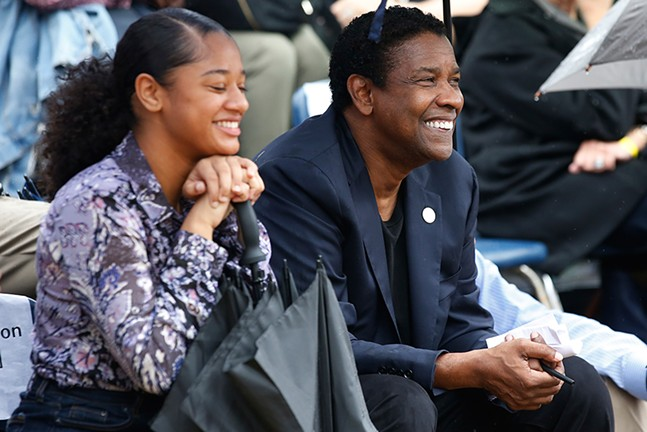 CAPA student Jamaica Johnson and Denzel Washington - CP PHOTO: JARED WICKERHAM