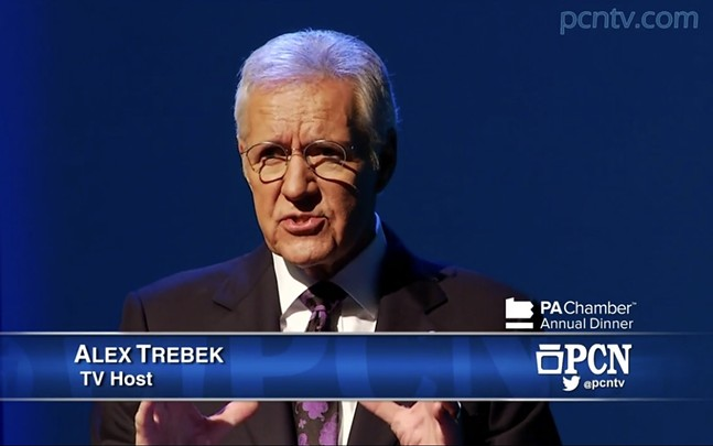Alex Trebek during Pennsylvania gubernatorial debate - SCREENSHOT FROM PCNTV.COM