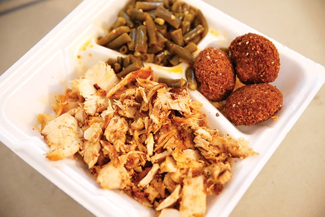 Chicken shawarma, falafel and green beans from Madonna's Mediterranean Cuisine - CP PHOTO: JARED WICKERHAM