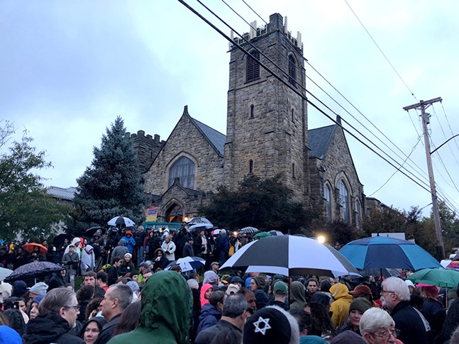 Hundreds gather for a vigil in Squirrel Hill on Sat., Oct. 27, 2018. - CP PHOTO: JUSTIN MATASE