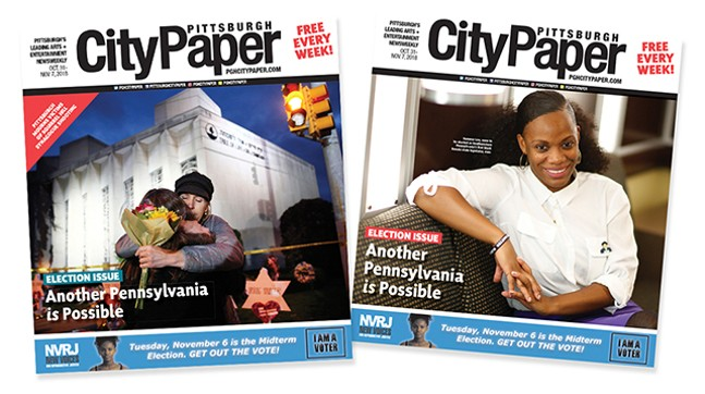 This week's Pittsburgh City Paper cover on the left, and the original cover we had planned before the tragic synagogue shooting in Squirrel Hill - CP PHOTOS: JARED WICKERHAM
