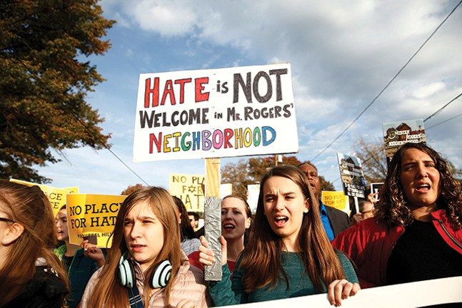 Multiple groups of marchers made their way to the Tree of Life synagogue last week during President Trump's visit, three days after the mass shooting in Squirrel Hill. - CP PHOTO: JARED WICKERHAM