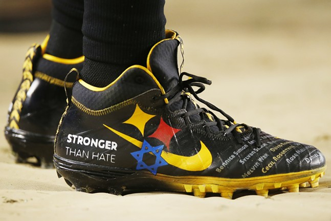 Roethlisberger wore custom cleats honoring the victims of the Tree of Life synagogue mass shooting. - CP PHOTO: JARED WICKERHAM