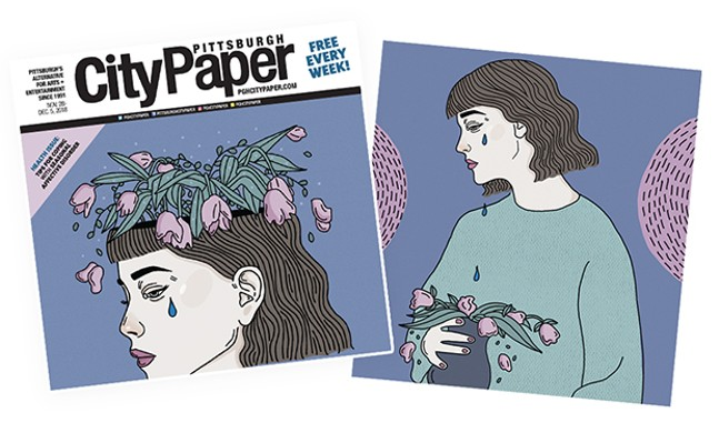 Xiola Jensen's Pittsburgh City Paper cover and story artwork, illustrating seasonal affective disorder