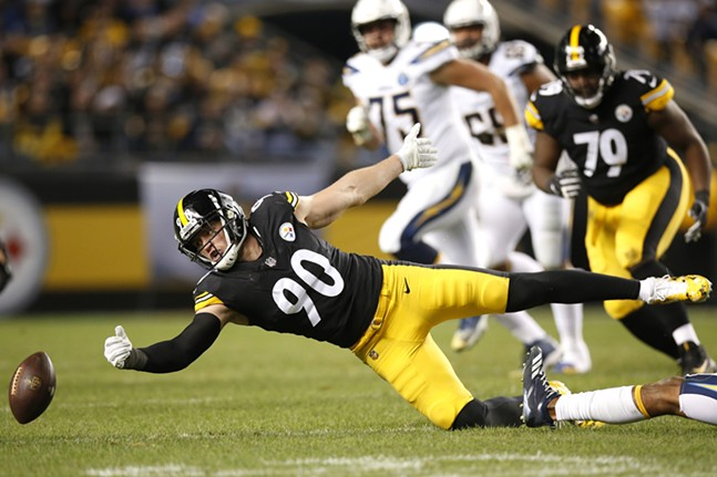 T.J. Watt comes up short on a deflected pass. - CP PHOTO: JARED WICKERHAM