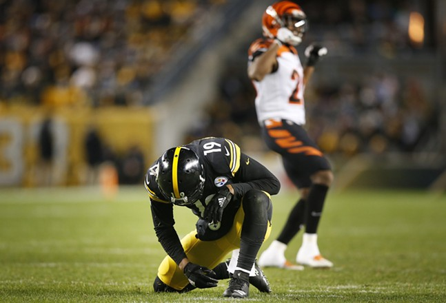 JuJu Smith-Schuster reacts following an incomplete pass intended for him. - CP PHOTO: JARED WICKERHAM