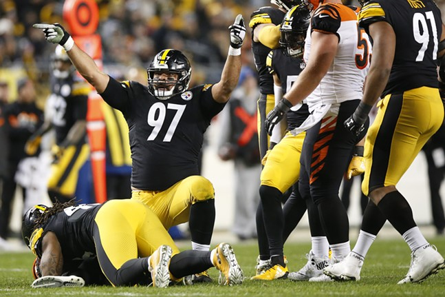 Cam Heyward reacts after a sack on Jeff Driskel #6 of the Bengals. - CP PHOTO: JARED WICKERHAM