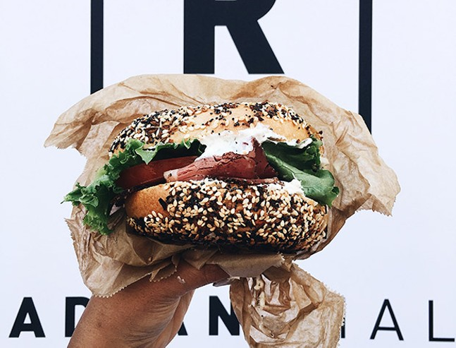 A bagel sandwich from Pigeon Bagels during a pop-up at Radiant Hall in Lawrenceville - PHOTO: SARA SAVAGE