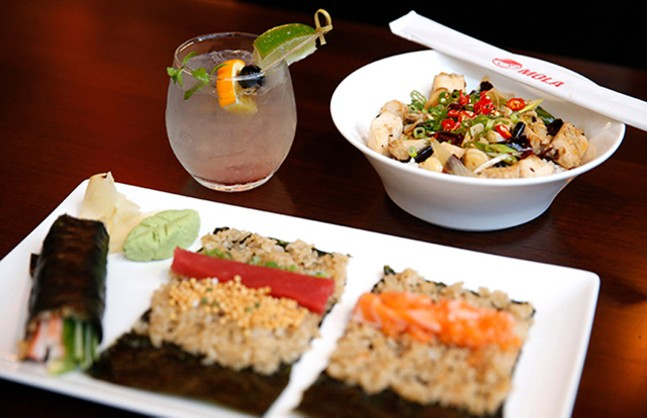 White sangria, hand rolls, and a hot and spicy chicken rice bowl at Mola - CP PHOTO: JARED WICKERHAM