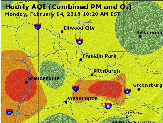 Air Quality Index map of the Pittsburgh region taken at 10:20 a.m. - SCREENSHOT FROM AIRNOW.GOV